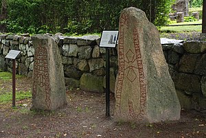 Aringsås Runestones - Sm 3 (on the left) and Sm 1 in the yard at the Aringsås Church.