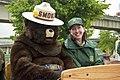 Smokey Bear and Mary Wagner at 2009 Rose Parade, Wallowa Whitman National Forest (23159592340).jpg