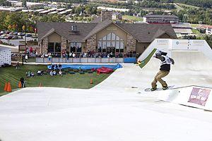 Liberty University - Top of the Snowflex synthetic ski slope overlooking Liberty Mountain Snowflex Centre