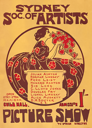 Ruby Lindsay - Poster designed by Ruby Lindsay for the Society of Artists exhibition, Sydney in 1907.