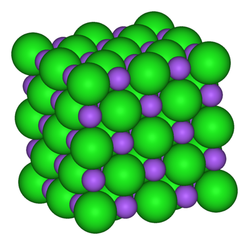 Table salt, NaCl, doesn't exists as molecules of NaCl, but rather a crystal of alternating soduim ions (magenta) and chloride ions (green).
