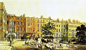 Soho Square - Soho Square in 1816. At that time farm animals were often driven into London.