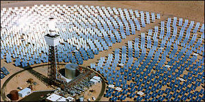 Heliostat - The Solar Two solar-thermal power project near Daggett, California. Every mirror in the field of heliostats reflects sunlight continuously onto the receiver on the tower.
