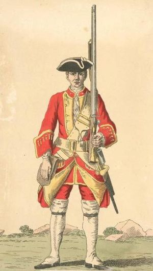 37th (North Hampshire) Regiment of Foot - Soldier of 37th regiment, 1742