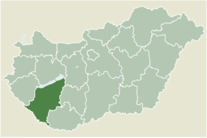 Balatonlelle - Location of Somogy county in Hungary