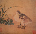 A square painting of a duckling with a grey back, white underbelly, and yellow tinted face. The duckling is looking down towards the lower, right hand corner.