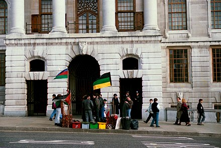 Anti-apartheid protest at South Africa House in London, 1989 South Africa House anti apartheid London 1989.jpg