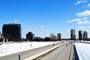 English: Southfield Michigan, skyline from the...