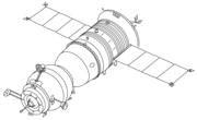 Soyuz-TM spacecraft. Compare the antennae on the orbital module to those on Soyuz-T. Differences reflect the change from the Igla rendezvous system used on Soyuz-T to the Kurs rendezvous system used on Soyuz-TM.