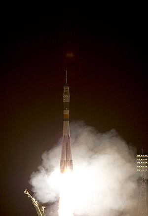 Soyuz TMA-02M - The Soyuz TMA-02M rocket launches from the Baikonur Cosmodrome carrying Volkov, Fossum and Furukawa to the International Space Station.