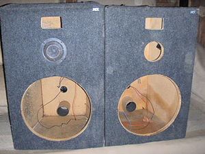 Loudspeaker enclosure - MTX Audio loudspeaker enclosures (with rear panel reflex port tubes) which can mount 15 inch woofers, mid-range drivers and horn and/or compression tweeters. In this photo, only one driver is mounted.