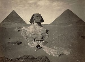 Giza pyramid complex - The Great Sphinx partially excavated, photo taken between 1867 and 1899