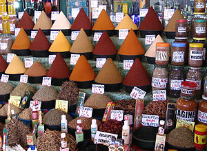 Moroccan cuisine - Spices at central market in Agadir