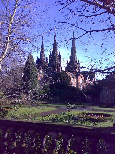 File:Spires of Lichfield Cathedral from the south-west.jpg