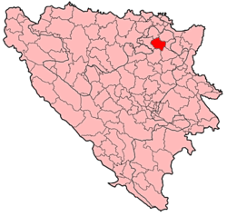Location of Srebrenik within Bosnia and Herzegovina.