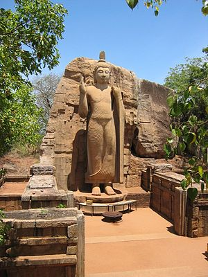 Buddhism in Sri Lanka - Avukana Buddha statue from 5th century