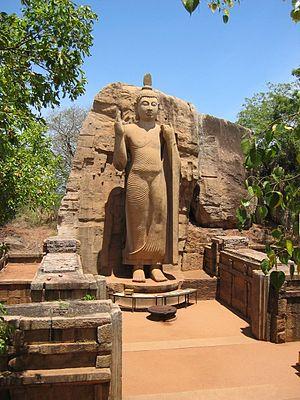 Buddhism in Sri Lanka - Avukana Buddha statue from 5th century