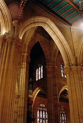 This angle view in St Andrew's shows high arches overlapping each other.