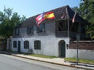 American colonial architecture - Gonzalez–Alvarez House, St. Augustine, Florida, built 1723, Spanish colonial