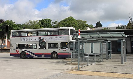 St Austell bus station in June 2013 St Austell Bus Station - First 31828 (R908RYO).jpg