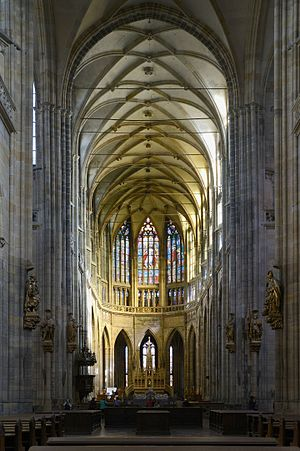 Peter Parler - Interior of St. Vitus Cathedral, clearly showing the Parler-style balustrade