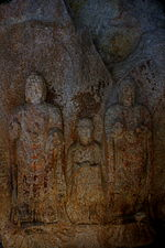 Standing Buddha Triad Carved on the Rock in Donmun-ri, Taean 01.JPG