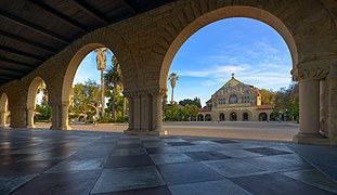 Stanford University Arches with Memorial Church in the background.jpg