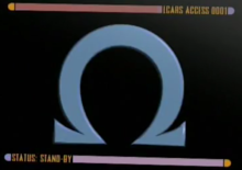 "The Greek letter omega bordered on top and bottom by colored bars which contain the captions: ""LCARS ACCESS 0001"" and ""STATUS: STAND-BY"""