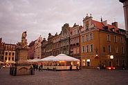 Stary Rynek w Poznaniu, houses at evening