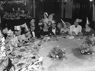 Black tie - Black tie worn at a dinner party in the 1940s.
