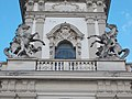 Statues of people with horses at the tower, Festetics Palace main building park side, Keszthely, 2016 Hungary.jpg