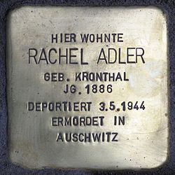 Photo of Rachel Adler brass plaque