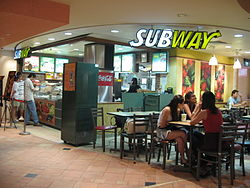 Subway restaurant in the basement of Raffles City Shopping Centre, Singapore - 20060529.jpg
