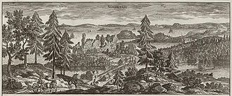 Almarestäket - Almarestäket circa 1700, in Suecia antiqua et hodierna.