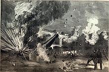 Gravure illustrant les boulets confédérés s'abattant dans la cour de Fort Sumter.