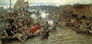 History of Siberia - Yermak's Conquest of Siberia, a painting by Vasily Surikov