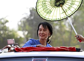 Aung San Suu Kyi - Aung San Suu Kyi arrives to give a speech to the supporters during the 2012 by-election campaign at her constituency Kawhmu township, Myanmar on 22 March 2012.