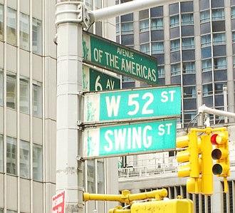 """52nd Street (Manhattan) - """"Swing Street"""" street sign"""