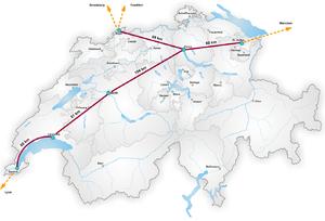 Swissmetro - Swissmetro network (proposition 2005)