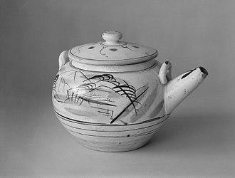 """Mashiko ware - Ko-Mashiko stoneware teapot mado-e dobin (""""Window Picture""""), ca. 1915-35, Taisho/Showa era"""
