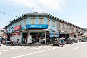 Tamparuli - Colonial-era shoplots in downtown Tamparuli