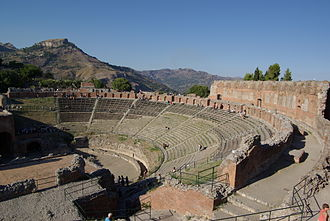 Ancient theatre of Taormina - Image: Taormina BW 2012 10 05 16 23 06