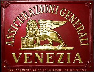 Assicurazioni Generali - Original metal plaque with raised gilt signature and Lion of Saint Mark, 1924–1940.