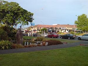 Taupo - One of the main streets of the Taupo CBD, with the Taupō Domain on the left.