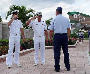 Aquaman (TV pilot) - Staff Sergeant Leo Castellano teaches two actors how to salute