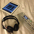 Teenage Engineering OP-1, Tracker on iPad, and monitor headphone - #beats for #breakfast line-in #arpeggionome op-1 #studio in #bed Y(^ ^)Y - 2013-06-18 (by j bizzie).jpg