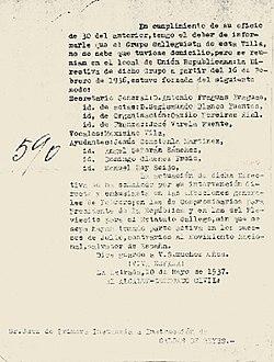Tengo el deber de informarle que el Grupo Galleguista...La Estrada 10 de Mayo de 1937
