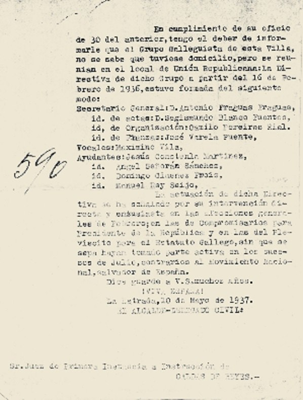 """Informe do alcalde da Estrada sobre o """"Grupo Galleguista"""", 1937."""