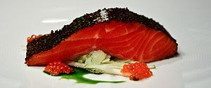 Modern Australian cuisine - An iconic Modern Australian dish: Confit of Tasmanian Ocean Trout at Tetsuya's, Sydney
