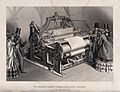 Textiles; a three-quarter view of a power loom, with admirin Wellcome V0024096.jpg